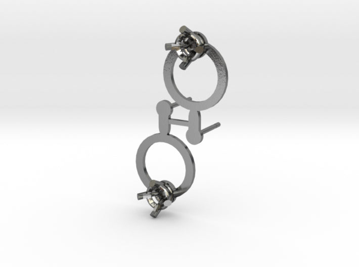 DIY Circle Post Earrings - 1 Pair 3d printed Polished Silver