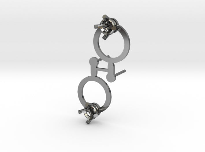 DIY Circle Post Earrings - 1 Pair 3d printed Fine Detail Polished Silver