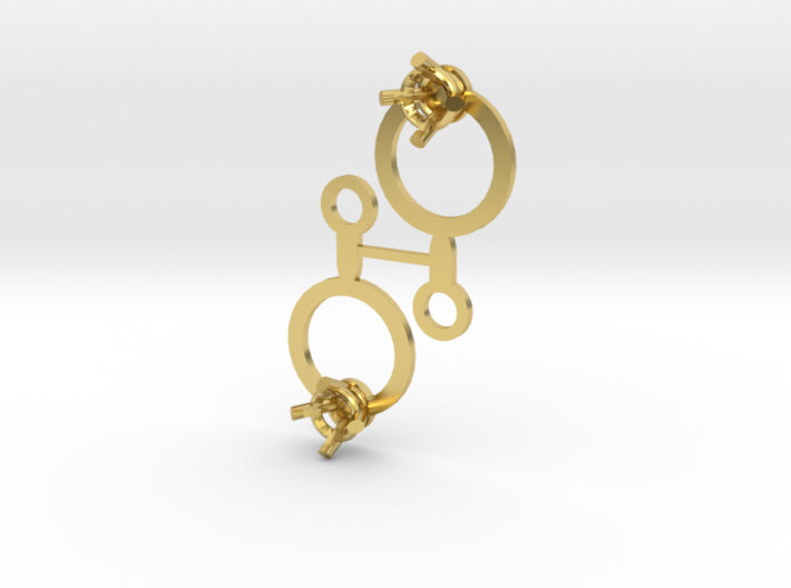 DIY Circle Drop Earrings - 1 Pair 3d printed Polished Brass