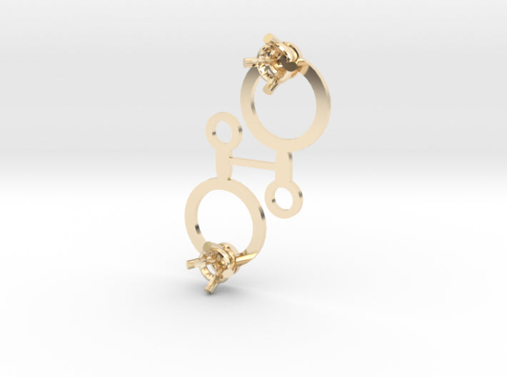 DIY Circle Drop Earrings - 1 Pair 3d printed 14K Yellow Gold