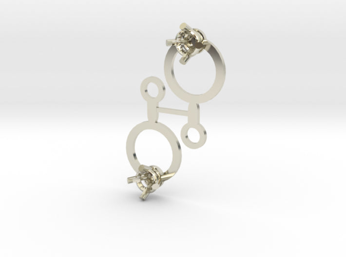 DIY Circle Drop Earrings - 1 Pair 3d printed 14K White Gold