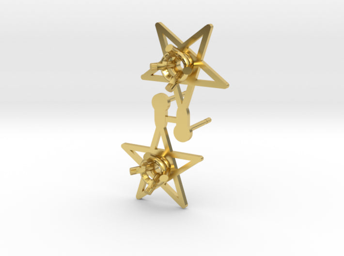 DIY Star Post Earrings - 1 Pair 3d printed Polished Brass