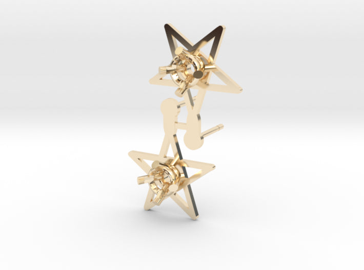 DIY Star Post Earrings - 1 Pair 3d printed 14K Yellow Gold