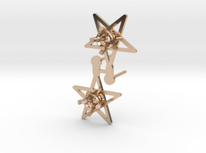 DIY Star Post Earrings - 1 Pair 3d printed 14K Rose Gold