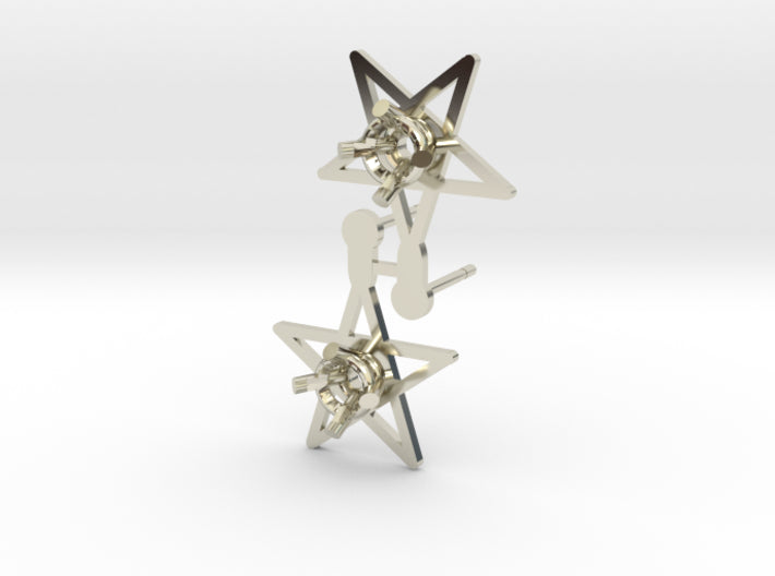 DIY Star Post Earrings - 1 Pair 3d printed 14K White Gold