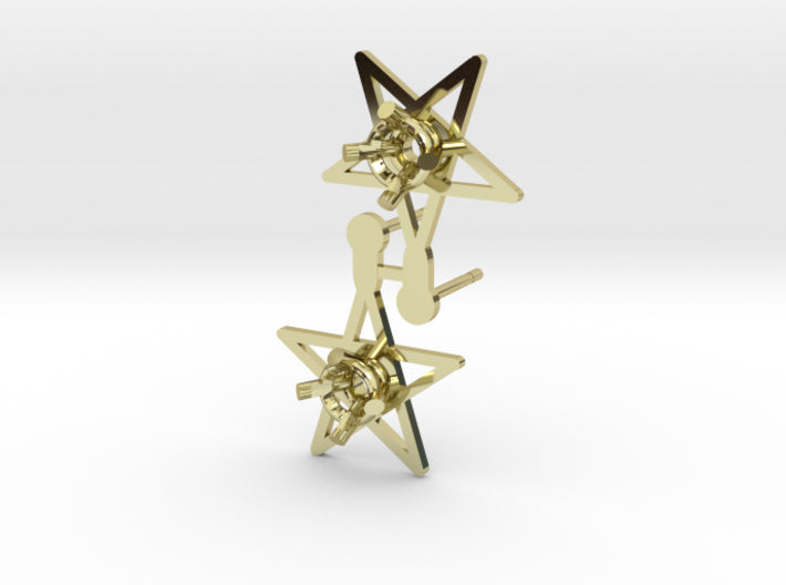 DIY Star Post Earrings - 1 Pair 3d printed 18K Yellow Gold
