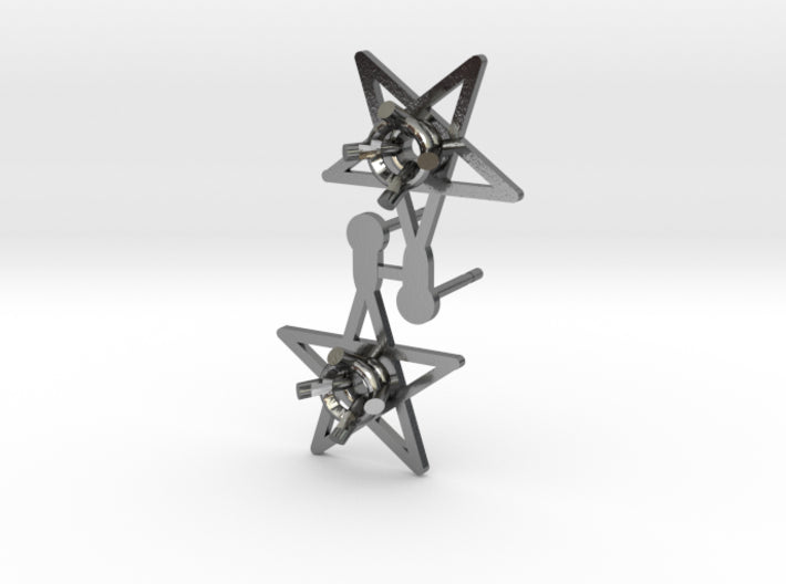 DIY Star Post Earrings - 1 Pair 3d printed Polished Silver