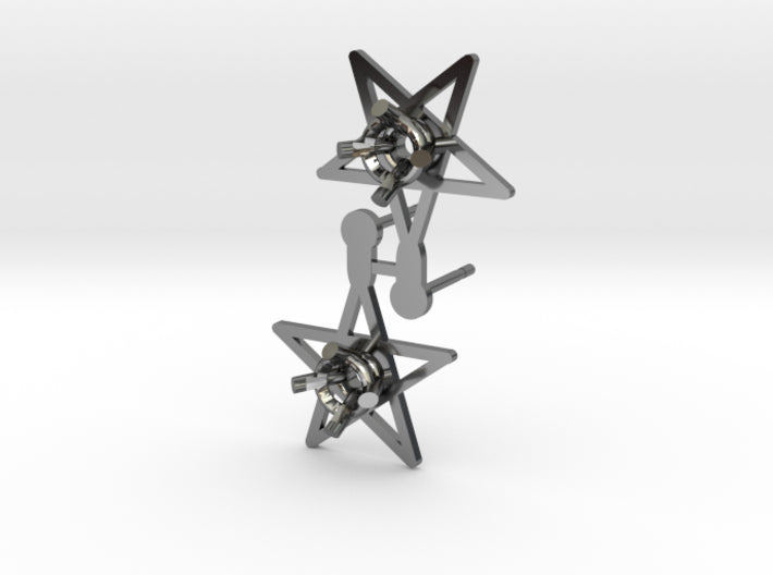 DIY Star Post Earrings - 1 Pair 3d printed Fine Detail Polished Silver