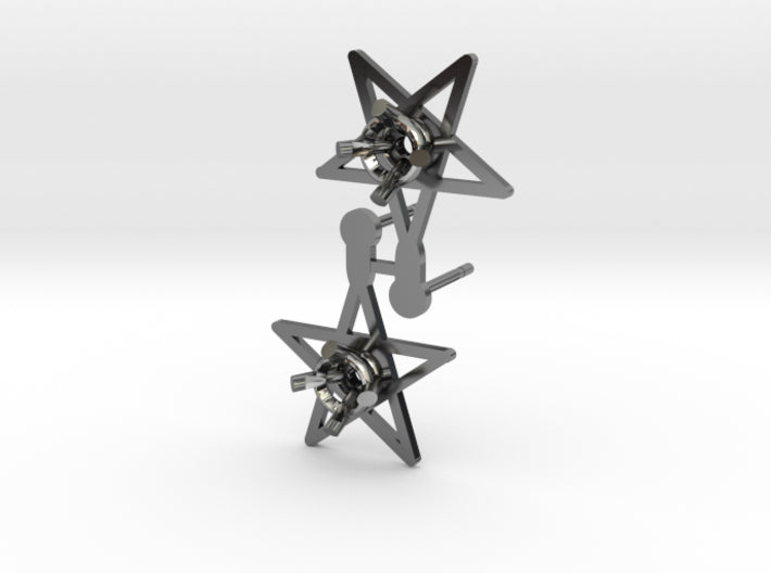 DIY Star Post Earrings - 1 Pair 3d printed Antique Silver