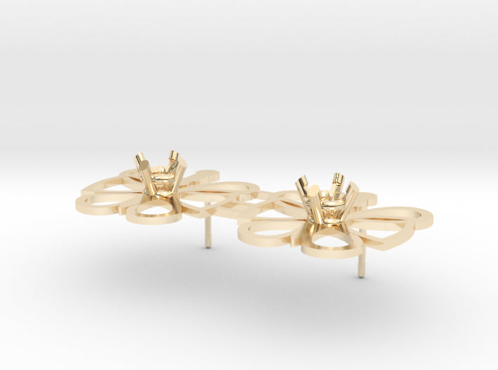 DIY Butterfly Post Earrings - 1 Pair 3d printed 14K Yellow Gold