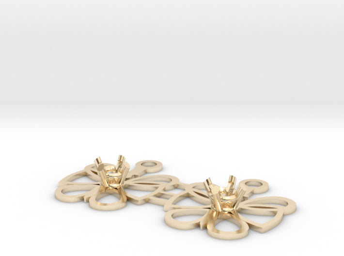 DIY Butterfly Drop Earrings - 1 Pair 3d printed 14K Yellow Gold