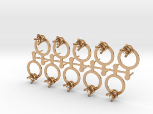 DIY Circle Post Earrings - 5 Pairs 3d printed Polished Bronze