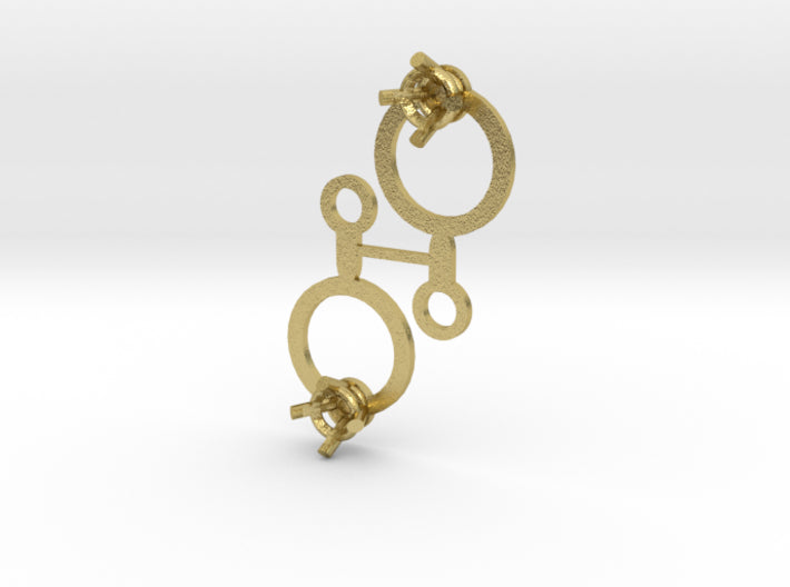 DIY Circle Drop Earrings - 1 Pair 3d printed Natural Brass