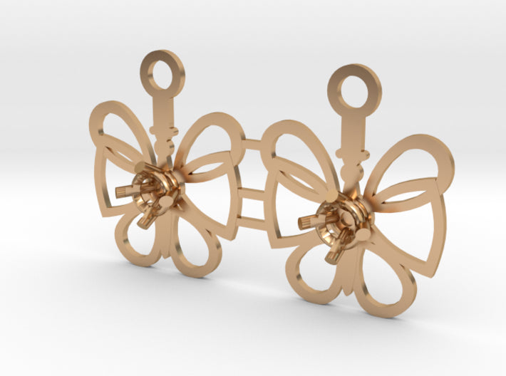 DIY Butterfly Drop Earrings - 1 Pair 3d printed Polished Bronze