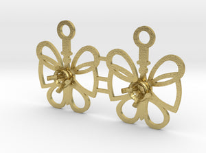 DIY Butterfly Drop Earrings - 1 Pair 3d printed Natural Brass