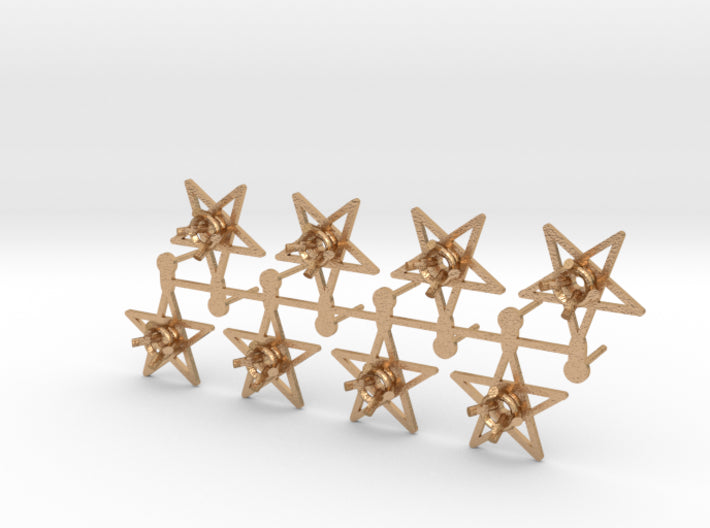 DIY Star Post Earrings - 4 Pairs 3d printed Natural Bronze