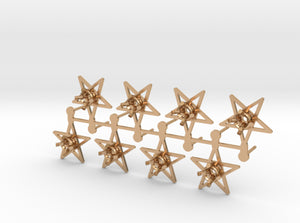 DIY Star Post Earrings - 4 Pairs 3d printed Polished Bronze