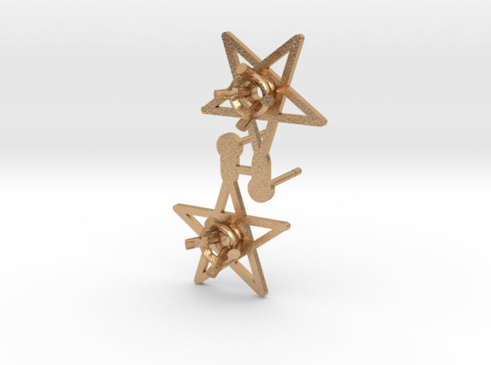 DIY Star Post Earrings - 1 Pair 3d printed Natural Bronze