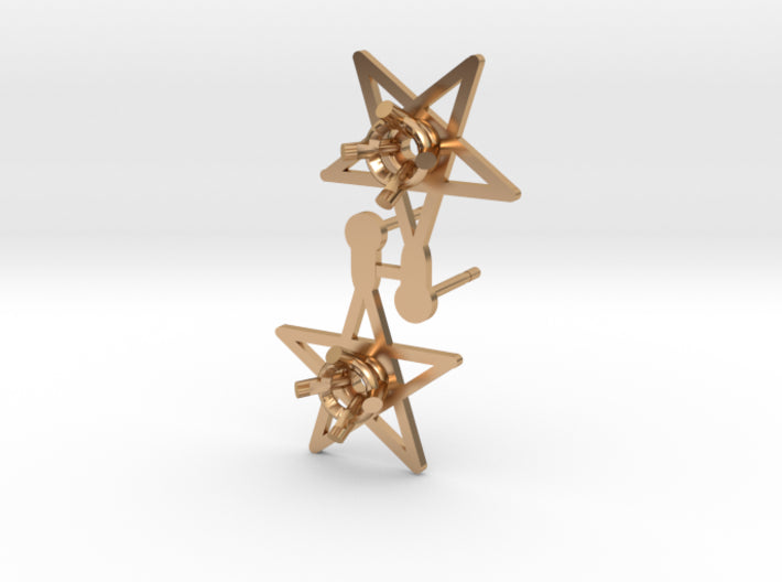 DIY Star Post Earrings - 1 Pair 3d printed Polished Bronze