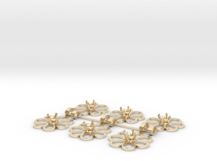DIY Bridesmaids Loves Me Daisy Pendants 6 3d printed 14K Yellow Gold