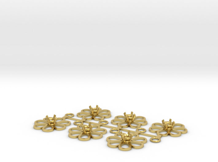 DIY Bridesmaids Loves Me Daisy Drops w Gem 3P 3d printed Polished Brass