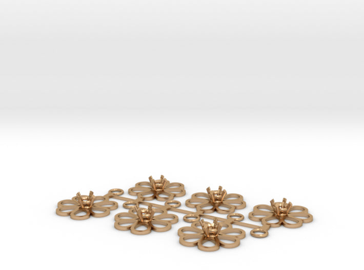 DIY Bridesmaids Loves Me Daisy Drops w Gem 3P 3d printed Polished Bronze