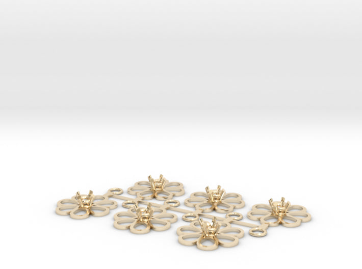 DIY Bridesmaids Loves Me Daisy Drops w Gem 3P 3d printed 14K Yellow Gold