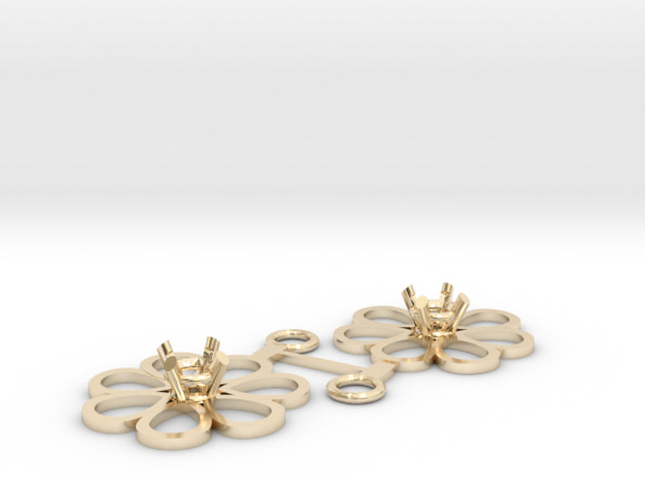 DIY Loves Me Daisy Drop Earrings for 5 mm Gem 3d printed 14K Yellow Gold