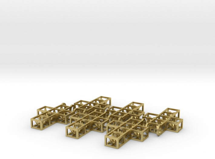 DIY Open Box Cross Six 3mm Gems 6 3d printed Natural Brass