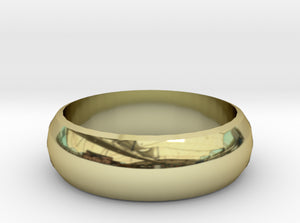 Half-Round Band of Gold Wedding Ring 3d printed 18K Yellow Gold