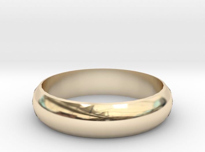 Half-Round Band of Gold Wedding Ring 3d printed 14K Yellow Gold