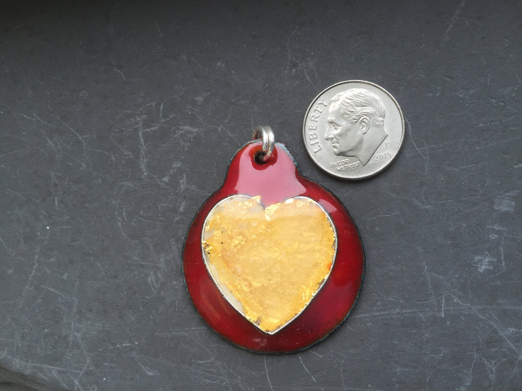 Cloisonne' Pendant Heart of Pure Gold on Red