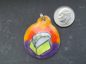 Cloisonne' Pendant - Lemon Meringue Pie Slice