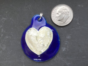 Cloisonne' Pendant Heart of Pure Silver on Blue a