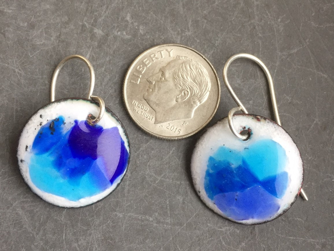 Enamel Drop Earrings Abstract Ocean Blues on White e