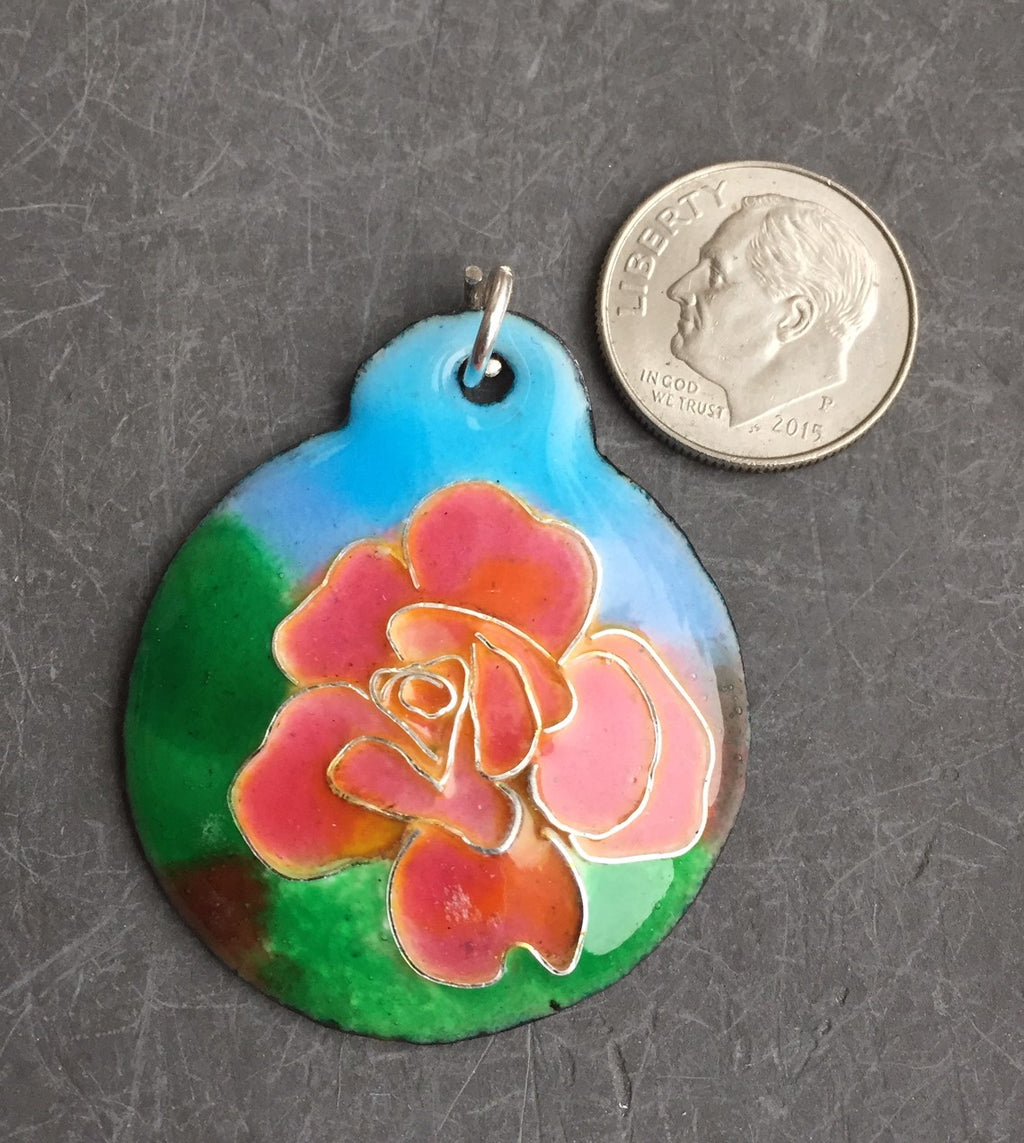 Cloisonne' Pendant Chicago Peace Rose a