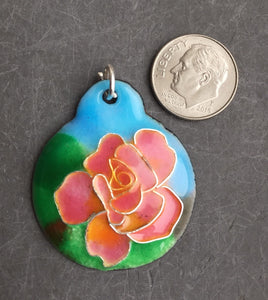 Cloisonne' Pendant Chicago Peace Rose b