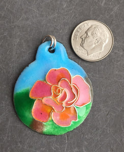 Cloisonne' Pendant Chicago Peace Rose c
