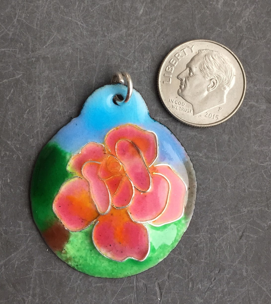 Cloisonne' Pendant Chicago Peace Rose d