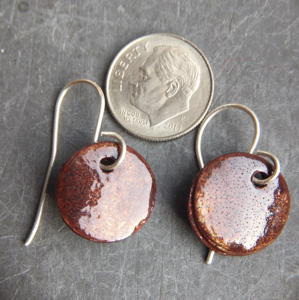 Enamel Drop Earrings Red Over Copper Five Eighths Inch b