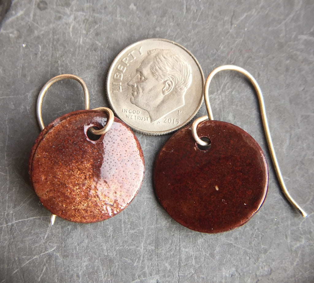 Enamel Drop Earrings Red Over Copper Three Quarter Inch a