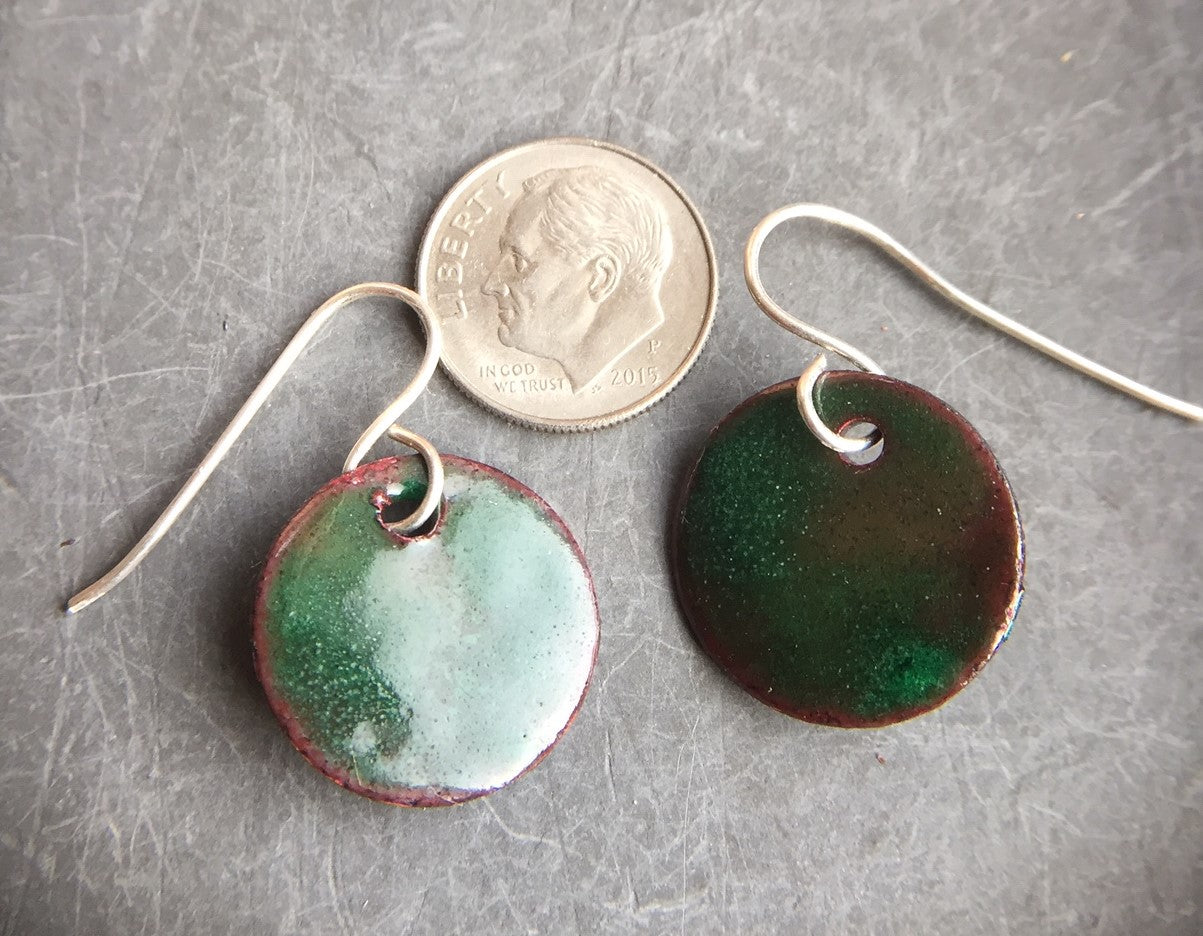 Enamel Drop Earrings Green Over Copper Three Quarter Inch a
