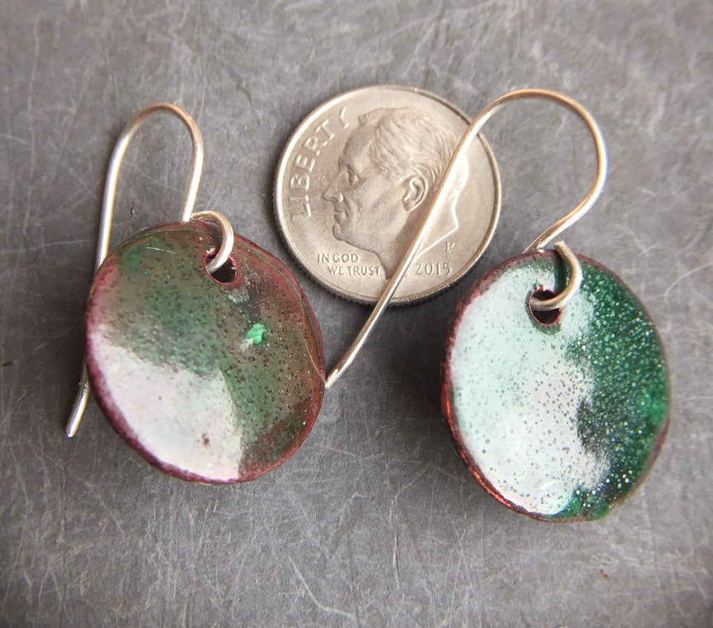 Enamel Drop Earrings Green Over Copper Three Quarter Inch b
