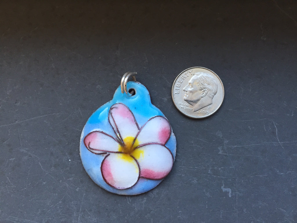 Cloisonne' Pendant - Plumeria Fragipani- White Pink and Yellow