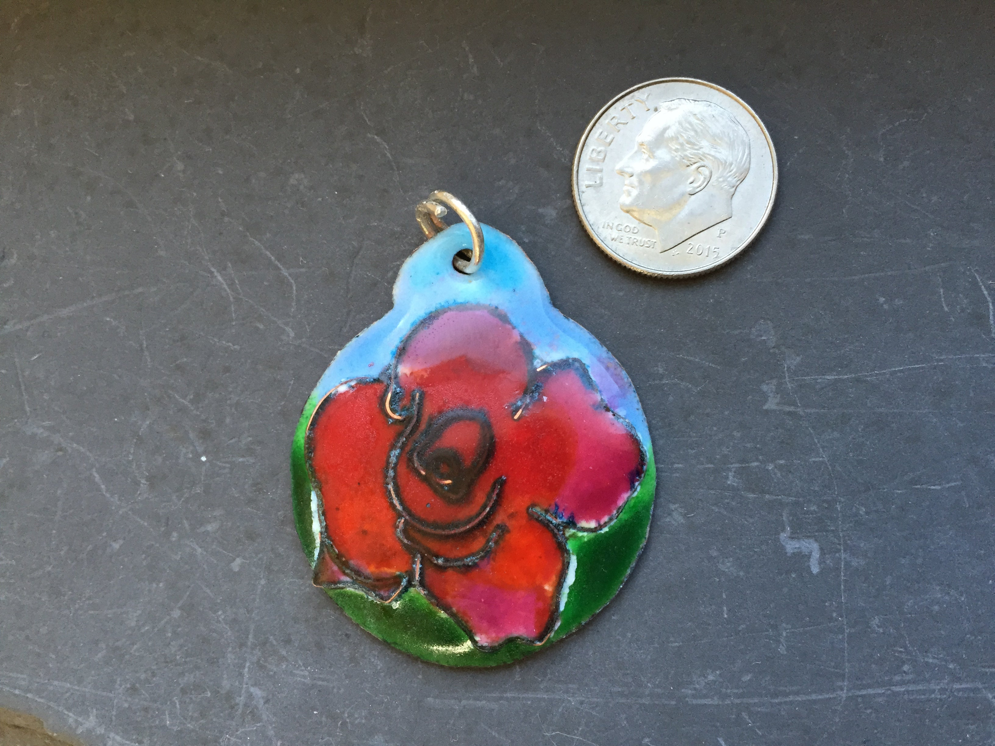Cloisonne' Pendant Rose Red Color