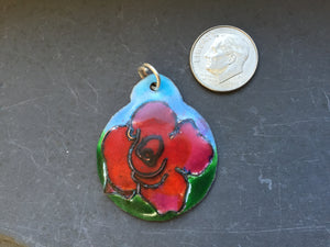 Cloisonne' Pendant Rose Red a