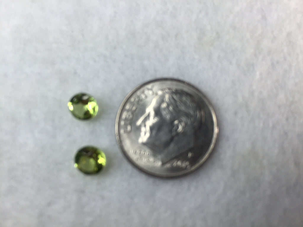 Green Peridot - 5 mm Round Gems - Pack of 2