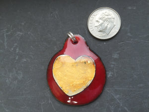 Cloisonne' Pendant Heart of 24K Pure Gold on Red
