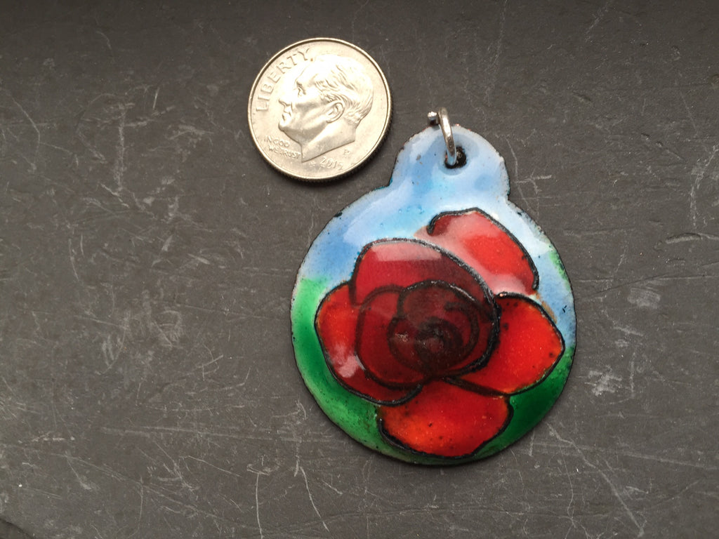Cloisonne' Pendant Rose Deep Red a