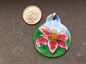 Cloisonne' Pendant Stargazer Lily Pink and White b